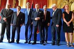 U.S. Secretary of State John Kerry joins French Foreign Minister Laurent Fabius and his counterparts from Germany, Italy, Qatar, and Turkey, and the United Kingdom at the Quai d'Orsay in Paris, France, on July 26, 2014, for a joint photo after a group meeting about a cease-fire in the fighting between Israel and Hamas in the Gaza Strip. [State Department photo/ Public Domain]