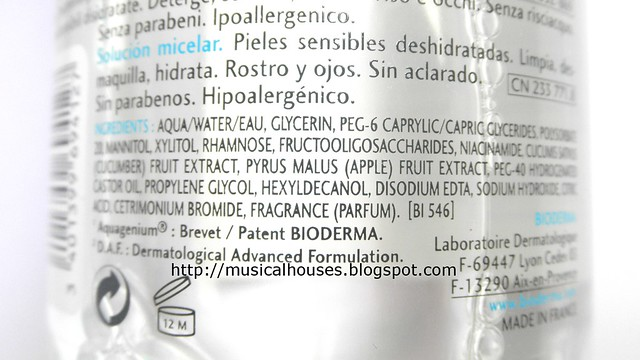 Bioderma Hydrabio Ingredients
