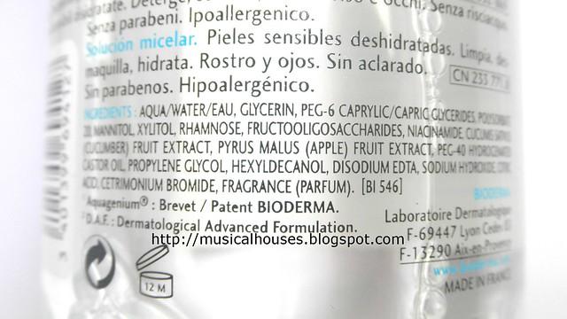 Bioderma Hydrabio Ingredients