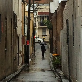 Surry Hills lanes in the rain 4: man with umbrella