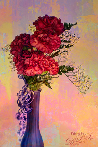 Image of painted red carnations in a purple vase