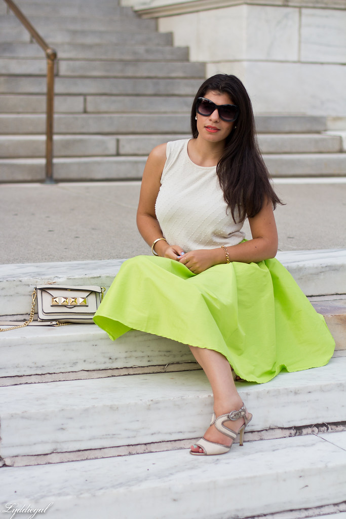 poofy neon green skirt, beaded silk top, grayson bag-4.jpg