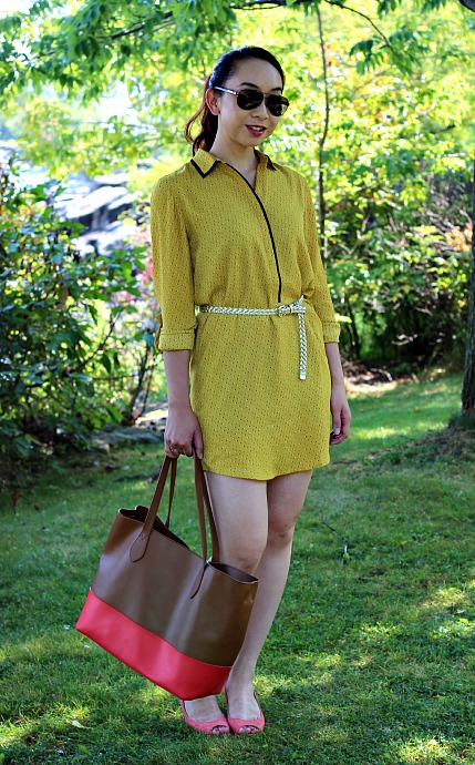 LovePretty-LOFT-TINY-FLORAL-PIPED-SHIRTDRESS-4, mustard dress, mustard trend, shirt dress, LOFT mustard dress