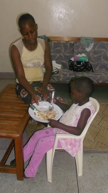 Michelle feeding herself