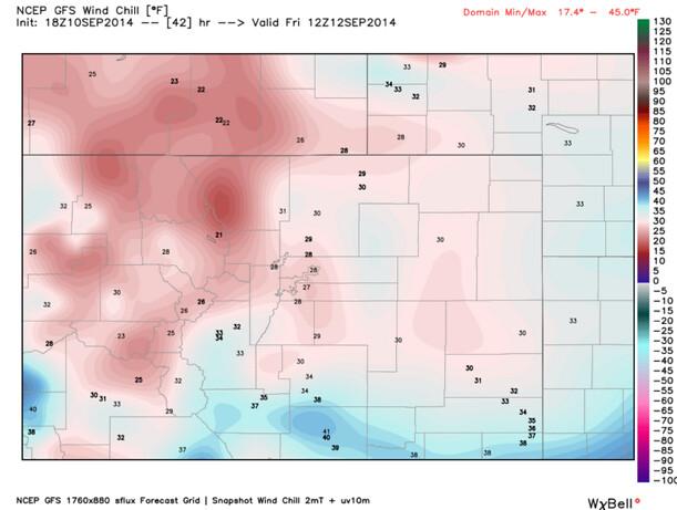 GFS wind chill forecast Colorado