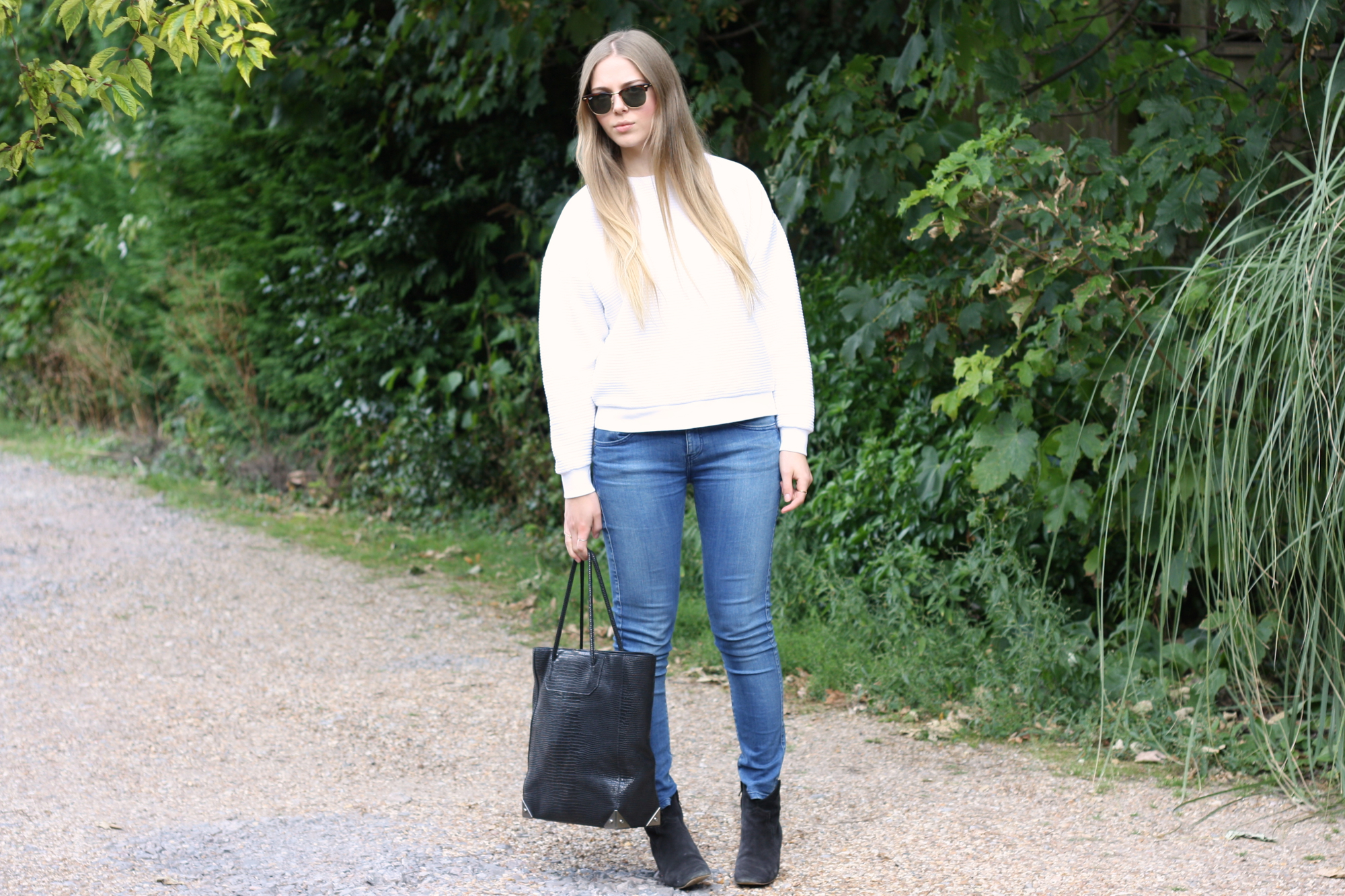 Topshop Boutique white ribbed sweatshirt
