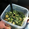 While he eats McDonald's, I brought my own kale, yuba and avocado salad.