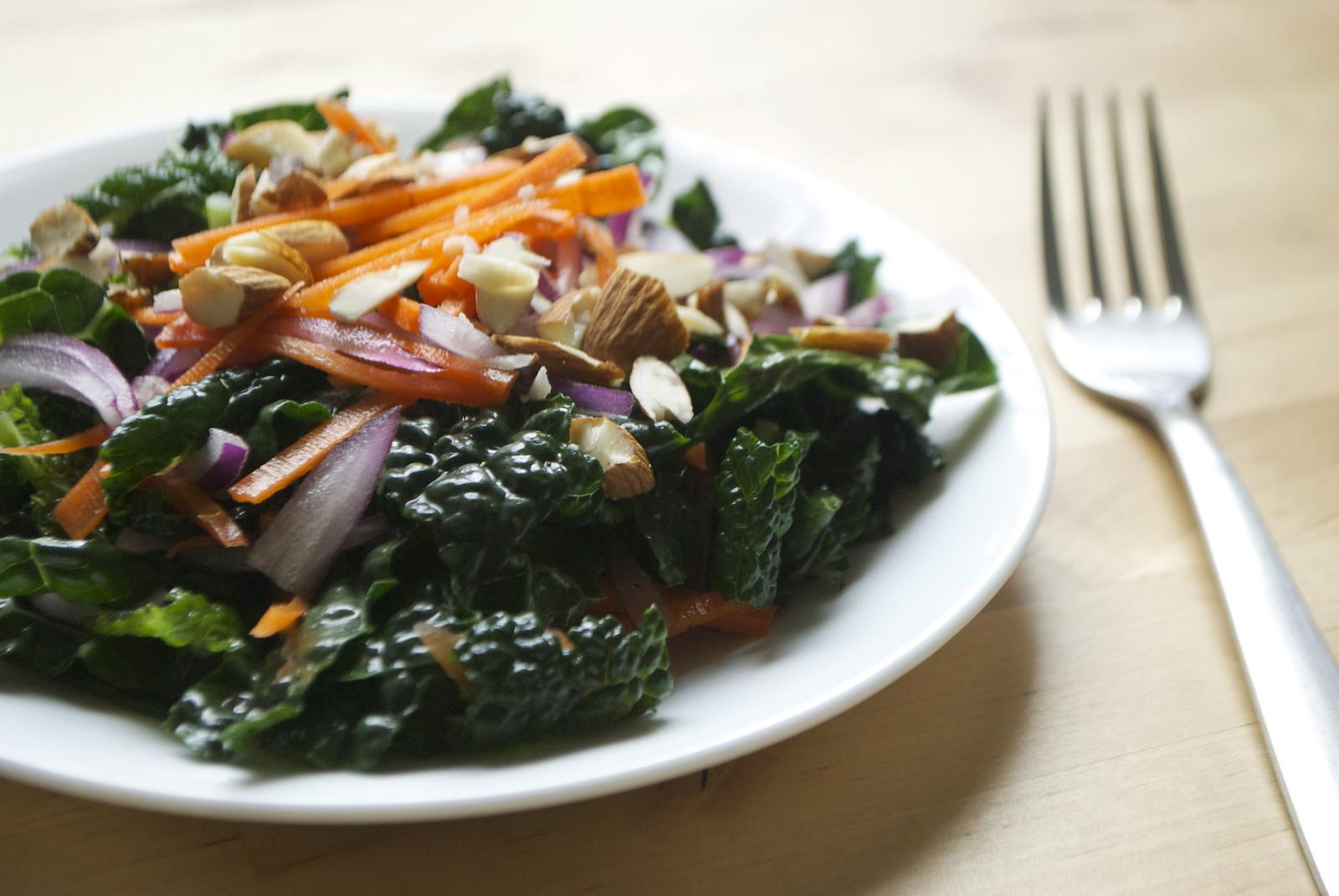 Kale Carrot Salad with Orange Vinaigrette