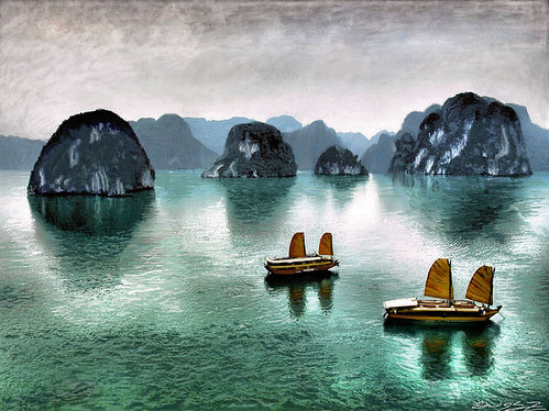 Pintura de la Bahía de Halong (Vietnam)