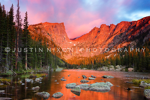 mountains reflection sunrise dawn colorado rocks rmnp estespark rockymountainnationalpark dreamlake leefilters