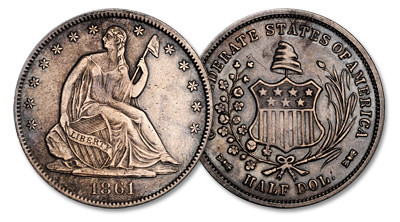 1861 Confederate Half Dollar. Original