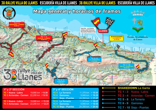 Mapa tramos Rallye Llanes 2014