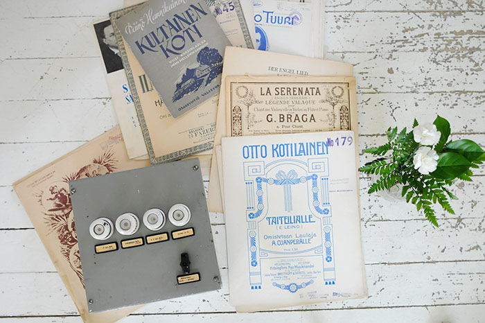 Vintage Fuse Box And Sheet Music