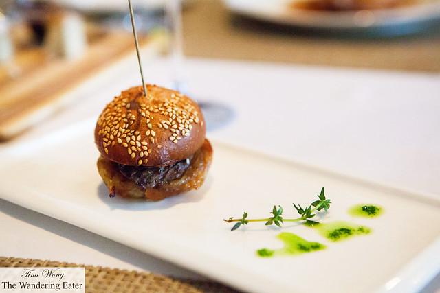 "Beef tenderloin ""pepito"" sandwich with mustard seed spread & beef jus"
