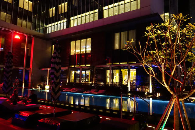 The view of the pool from our table at WET Bar, W Taipei