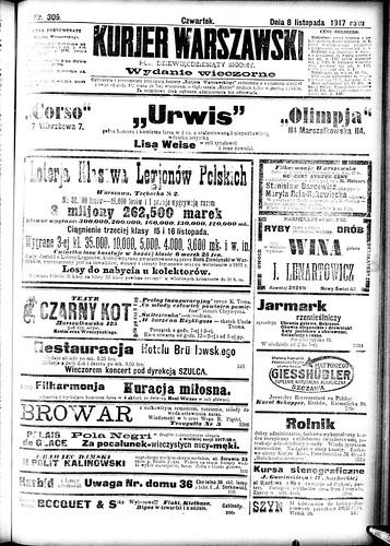 Kurjer Warszawski, 9 November 1917 (National Library Poland)