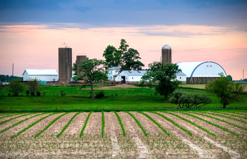 sunset rural illinois farm agriculture