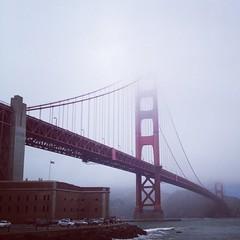 Red bridge. Gray sky. (Instagram version)