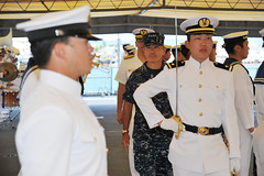 Adm. Harry Harris Jr., commander of U.S. Pacific Fleet, performs a ceremonial inspection of JS Kashima (TV 3508) sailors June 3 during their port visit to Pearl Harbor. (U.S. Navy/MC1 David Kolmel)