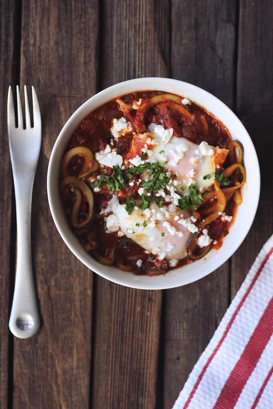 Zucchini Noodle Shakshuka (gluten-free)