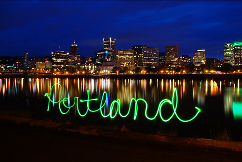 city bridge sky urban lightpainting green water skyline oregon buildings portland lights cityscape postcard lightgraffiti lightwriting