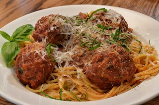 Ostrich Frikkadels spaghetti and meatballs