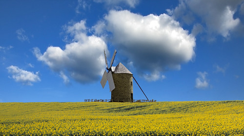 sky cloud france building mill windmill yellow wales architecture landscape moulin interestingness day farm cymru cardiff explore caerdydd agriculture normandy manche oilseed moidrey bassenormandie pontorson explored wentloog stevegarrington