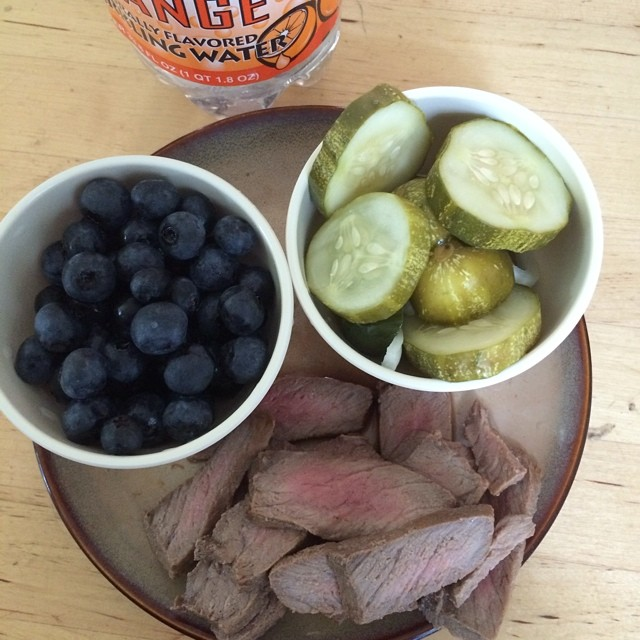 Day 16, #whole30 - lunch (leftover steak, homemade pickles, and blueberries)