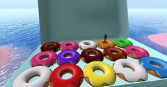 Giant Donuts and other goodies in the Cake region on SL. Spring 2014.