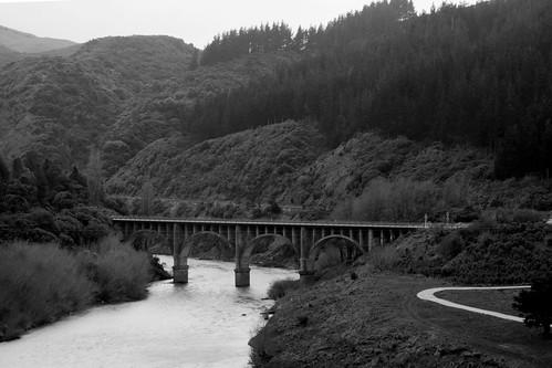 road bridge blackandwhite bw mountain river landscape scenery rail cliffs ranges gorge steep manawatu tararua ruahine