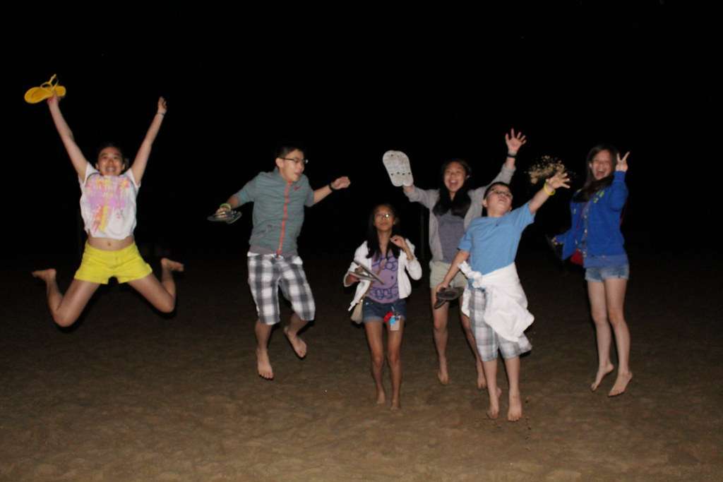 night beach jump
