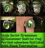 Lugh Favor Midsummer Festival Greenman Ring Rare Peridot cabochon Rutilated with Black Tourmaline