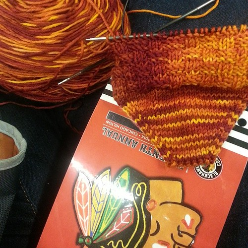 Knitting in Jack O'Callahan's autograph line #knitting #BlackhawkConvention #operationsockdrawer