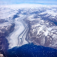 Flying high above Greenland.