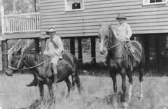 Two children ready to go to school on horseback in Bundaberg ca. 1918