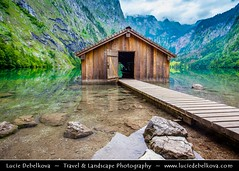 Germany - Bavaria - Berchtesgaden National Park - Obersee Lake and its boathouse