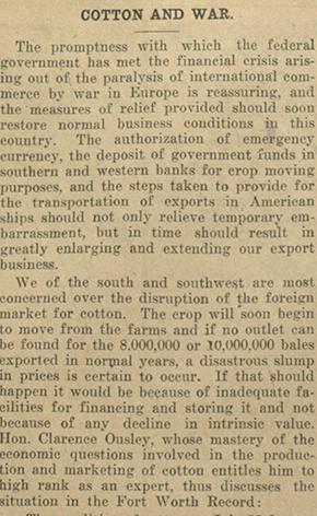 Waco Morning News Aug. 5, 1914, Cotton and War