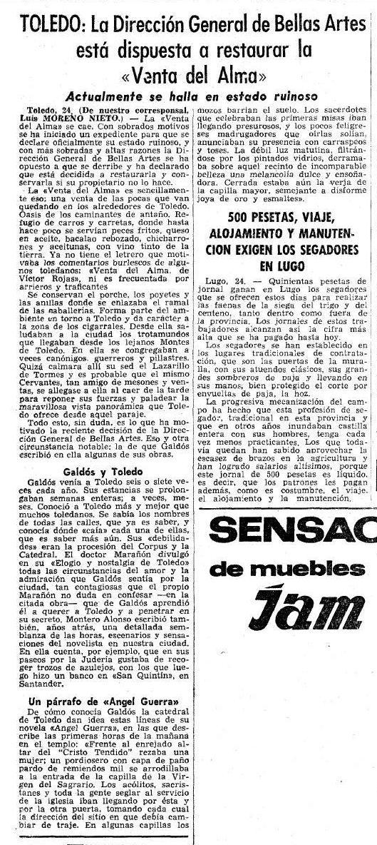 Noticia sobre la rehabilitación de la Venta del Alma. La vanguardia española de Barcelona, 25 julio 1965