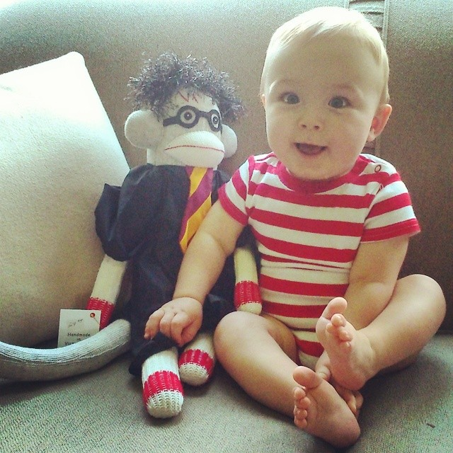 Matteo and Harry Potter cc: @therealhammbone #sockmonkey #harrypotter