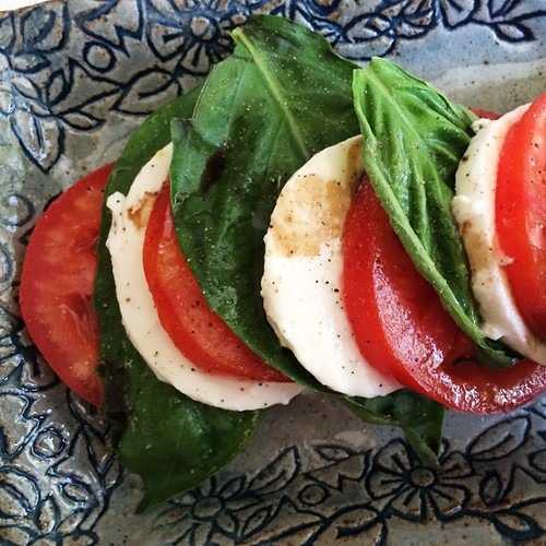 Caprese salad for my afternoon snack. 137 cal, 7.3g of Protein.