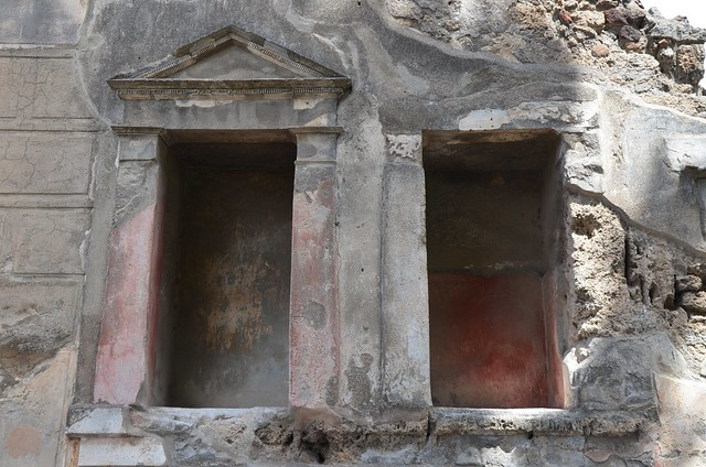 Two Lararia (household shrines) in the House of the Faun, Pompeii