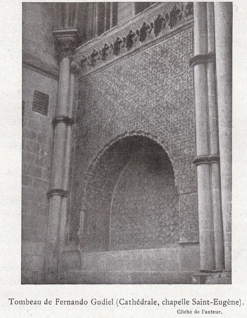 Sepulcro de Fernando Gudiel en la catedral a comienzos del siglo XX. Fotografía de Élie Lambert publicada en su libro Les Villes d´Art Célebres: Tolède (1925)