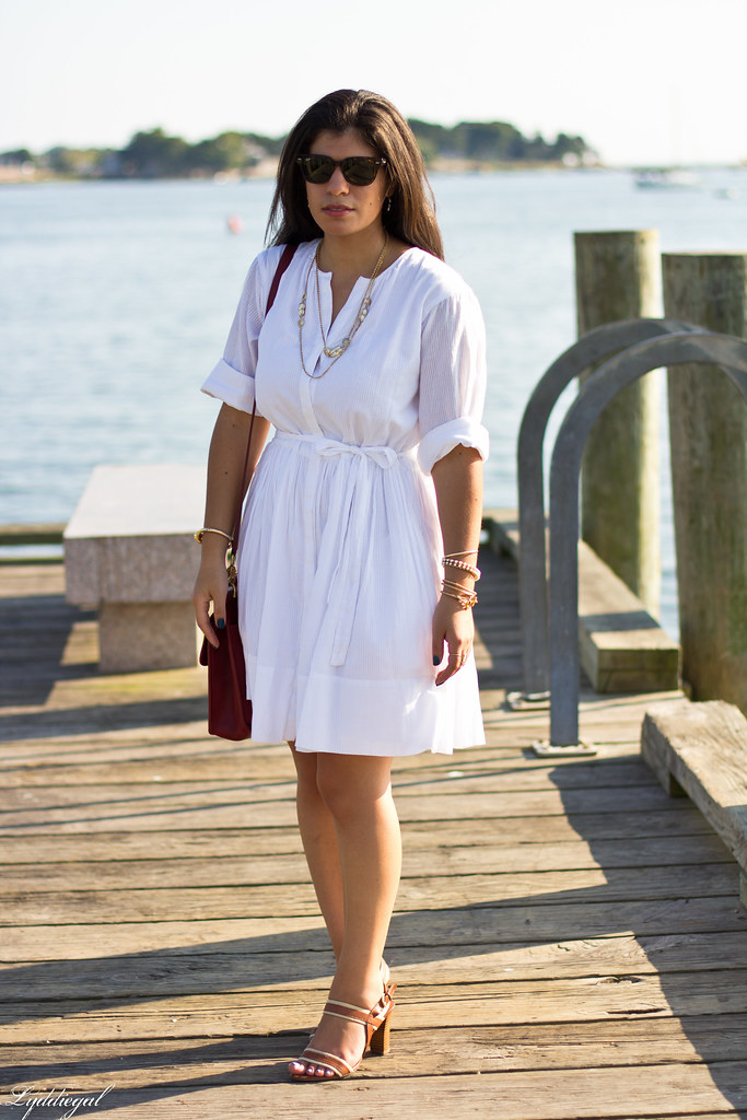 White shirt dress, red coach bag.jpg