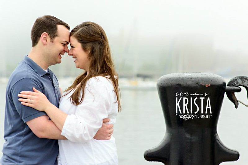 Early morning engagement portrait session at Boston Long Wharf