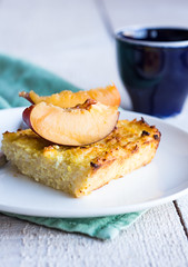 cottage cheese casserole with pasta and peaches, c…