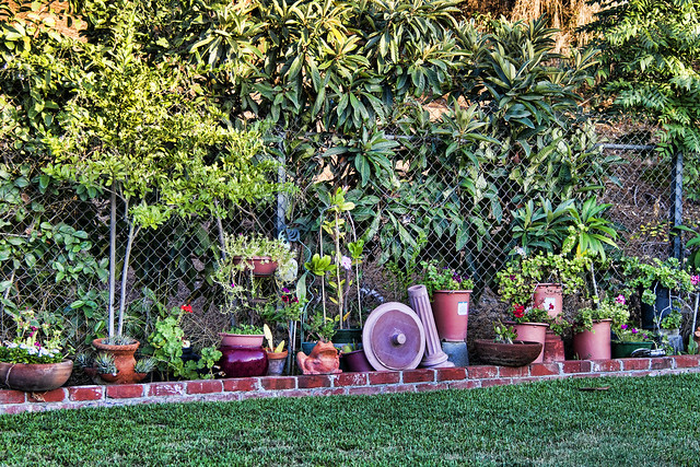 Pots and yard art