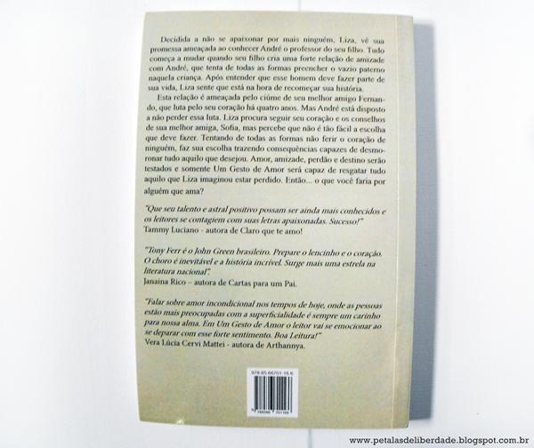 Sinopse, contracapa, livro, romance, Nicholas Sparks, Um gesto de amor, Tony Ferr, editora, Selo Jovem