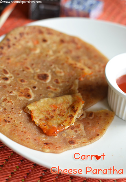 Carrot Cheese Paratha Recipe