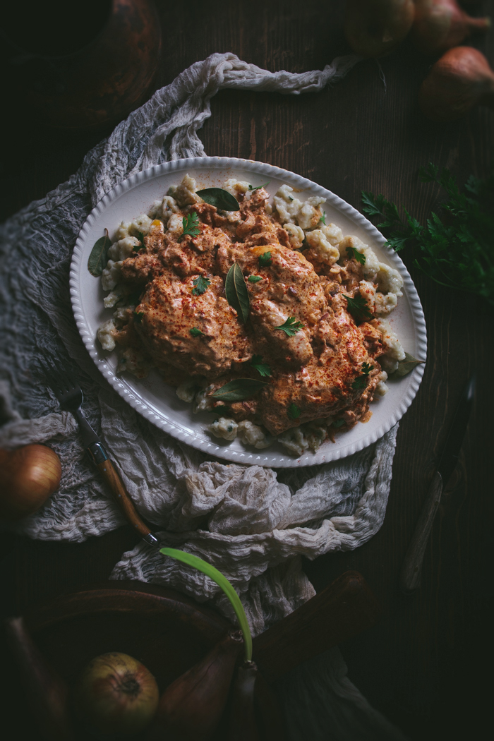 Braised Chicken With Hot Hungarian Paprika & Homemade Spatzle by Eva Kosmas Flores | Adventures in Cooking