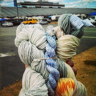 Got my June #yarnbox on the way to the #racetrack Got the Clouds colors, which wasn't my first choice, but I think it'll be a pretty shawl. #ArtYarns #yarn #stashenhancement #NHMS #getyourkniton